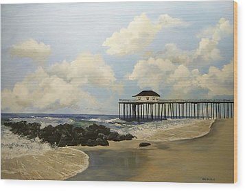 Ocean Grove Fishing Pier Wood Print by Ken Ahlering
