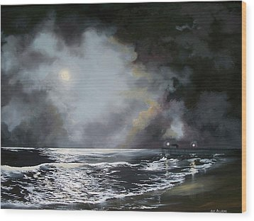 Wood Print featuring the painting ocean grove moon II by Ken Ahlering