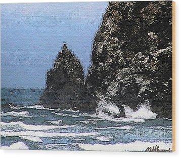 Ocean Haystack Rock Wood Print by Methune Hively