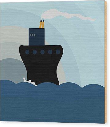 Ocean Liner Wood Print