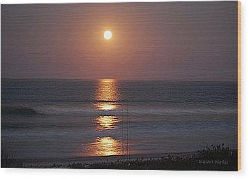 Ocean Moon In Pastels Wood Print
