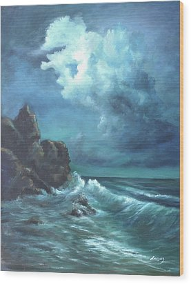 Seascape And Moonlight An Ocean Scene Wood Print