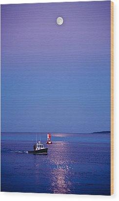 Ocean Moonrise Wood Print by Steve Gadomski
