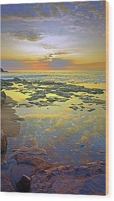 Wood Print featuring the photograph Ocean Puddles At Sunset On Molokai by Tara Turner