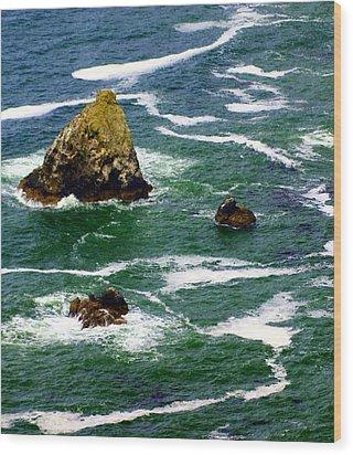 Ocean Rock Wood Print by Marty Koch