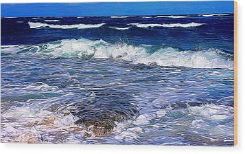 Ocean Scene In Abstract 14 Wood Print