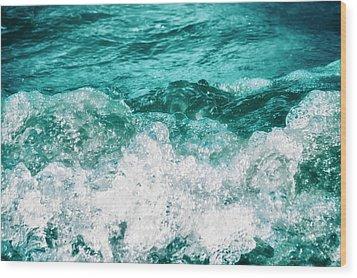 Ocean Splashes Wood Print by Wim Lanclus