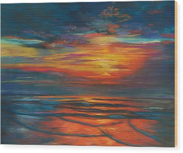 Wood Print featuring the pastel Ocean Sunrise by Karen Kennedy Chatham