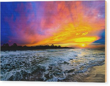 Wood Print featuring the photograph Ocean Sunset Landscape Photography Red Blue Sunset by Eszra Tanner