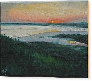 Ocean Sunset No.1 Wood Print by Erik Schutzman