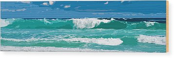 Ocean Surf Illustration Wood Print by Phill Petrovic