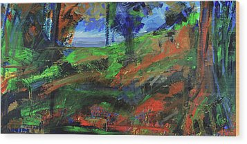 Wood Print featuring the painting Ocean View Through The Forest by Walter Fahmy