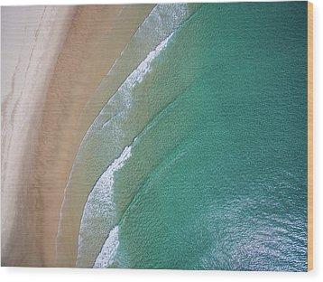 Ocean Waves Upon The Beach Wood Print