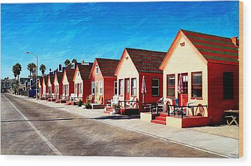 Oceanside Beach Cottages Wood Print by Glenn McCarthy Art and Photography
