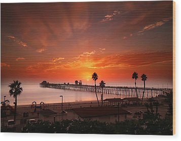 Oceanside Sunset 9 Wood Print by Larry Marshall