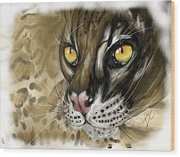 Wood Print featuring the digital art Ocelot by Darren Cannell