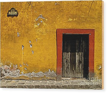 Ochre Wall With Red Door Wood Print by Mexicolors Art Photography