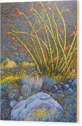 Ocotillo At Dusk Wood Print