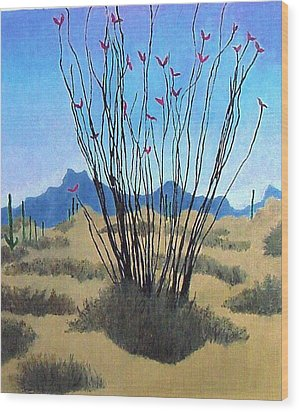 Wood Print featuring the painting Ocotillo by Bernard Goodman