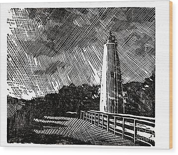 Wood Print featuring the painting Ocracoke Island Lighthouse II by Ryan Fox