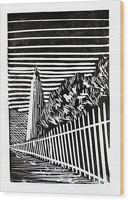 Wood Print featuring the painting Ocracoke Island Lighthouse by Ryan Fox