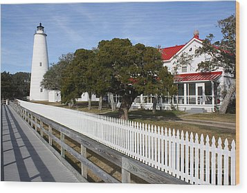 Ocracoke Lighthouse Wood Print by Tony Cooper