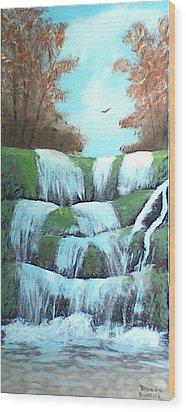 October Falls Wood Print by Brenda Bonfield