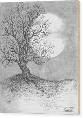October Moon Wood Print by Adam Zebediah Joseph