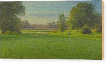 October Morning Golf Wood Print