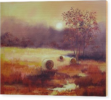 October Pasture Wood Print by Ginger Concepcion