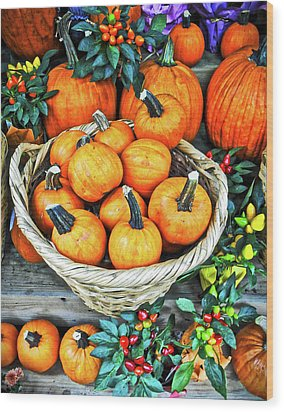 Wood Print featuring the photograph October Pumpkins by Joan Reese