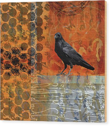 Wood Print featuring the painting October Raven by Nancy Merkle