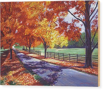 October Road Wood Print by David Lloyd Glover