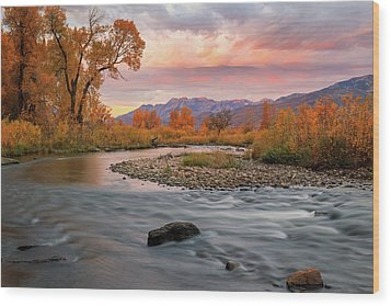 Wood Print featuring the photograph October Sunrise At The Provo River. by Johnny Adolphson