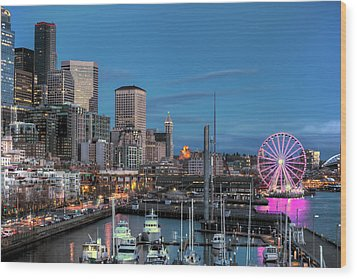 October Twilight Seattle Waterfront Wood Print