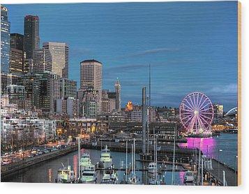 October Twilight Seattle Waterfront Wood Print