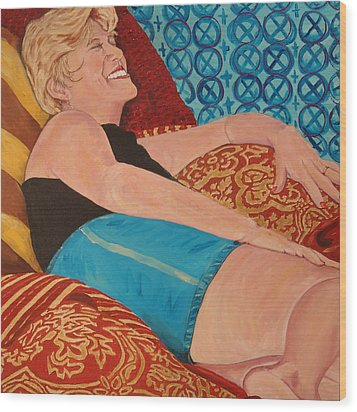 Odalisque In Blue Shorts Wood Print