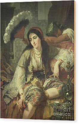 Odalisque Wood Print by Jean Baptiste Ange Tissier