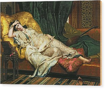Odalisque With A Lute Wood Print by Hippolyte Berteaux