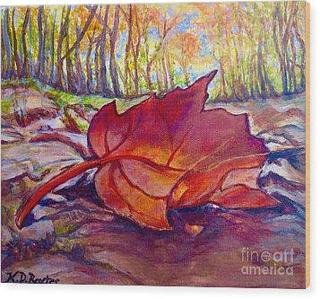 Ode To A Fallen Leaf Painting Wood Print by Kimberlee Baxter