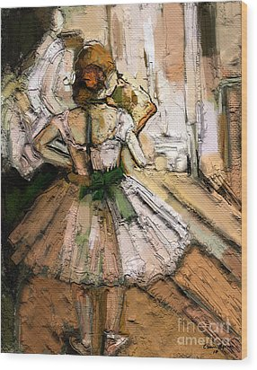 Wood Print featuring the painting Ode To Degas by Carrie Joy Byrnes