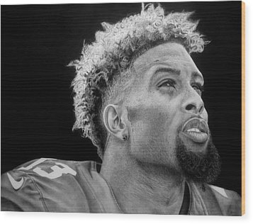 Odell Beckham Jr. Drawing Wood Print by Angelee Borrero