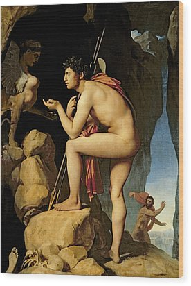 Oedipus And The Sphinx Wood Print by Jean Auguste Dominique Ingres