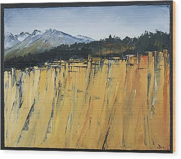 Of Bluff And Mountain Wood Print by Carolyn Doe