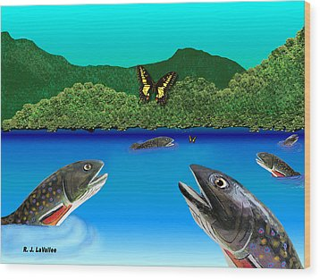 Of Brook Trout And Butterflies Wood Print