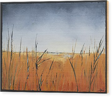 Of Grass And Seed Wood Print by Carolyn Doe