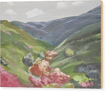 Wood Print featuring the painting Of Mountains And Valleys by Trilby Cole