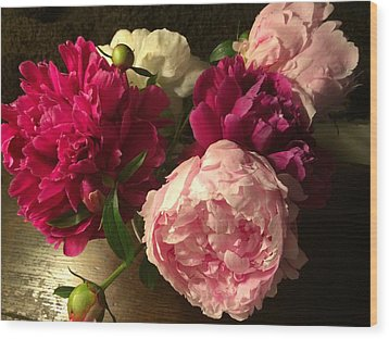 Off Center Peonies Wood Print by Gillis Cone