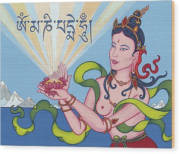 Offering Goddess With Mantra 'om Mani Padme Hum' Wood Print by Carmen Mensink