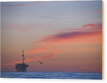 Offshore Oil And Gas Rig In The Pacific Wood Print by James Forte